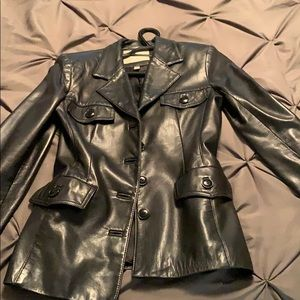 Leather fitted blazer, is petite